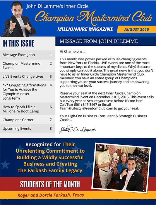 John Di Lemme's Inner Circle Champion Mastermind Club Membership Benefit - Millionaire Magazine Screenshot 1