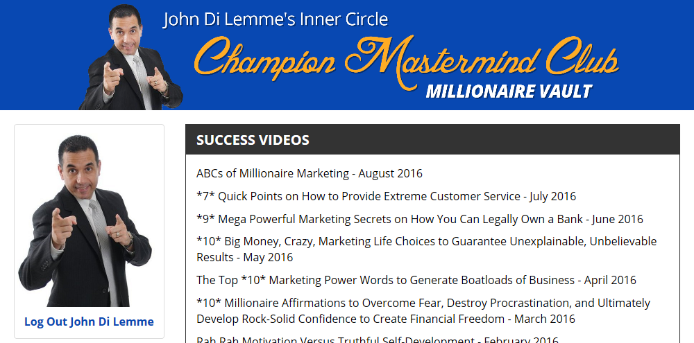 John Di Lemme's Inner Circle Champion Mastermind Club Membership Benefit - Success Videos