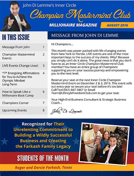 John Di Lemme's Inner Circle Champion Mastermind Club Membership Benefit - Millionaire Magazine Screenshot 1